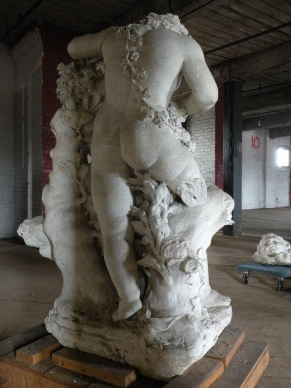 French 17th century Louis XIV Stone Sculpture of Playing Children For Sale
