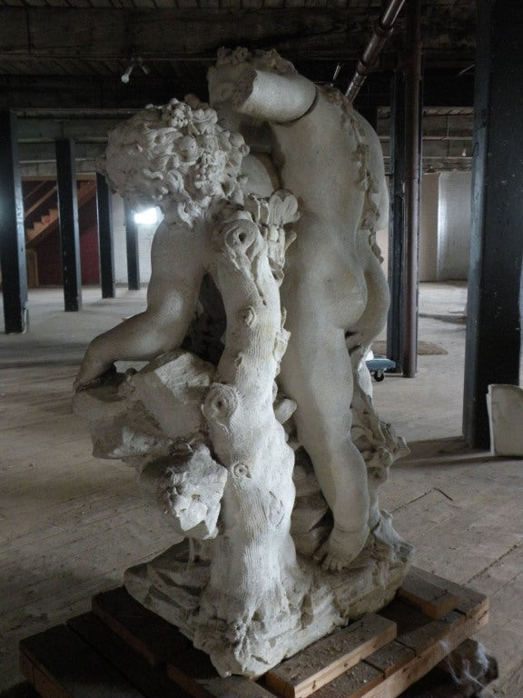 Limestone 17th century Louis XIV Stone Sculpture of Playing Children For Sale