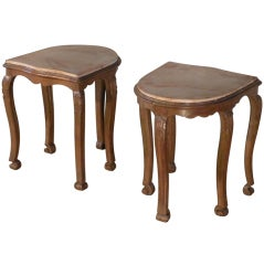 Pair of 18th century Louis XV oak and faux marbleized Side Tables or Stools