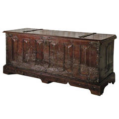 15th century French Medieval walnut Bookfold Coffer