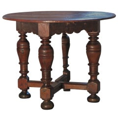 Dutch 18th century round Drop-Leaf Table or Demilune Console