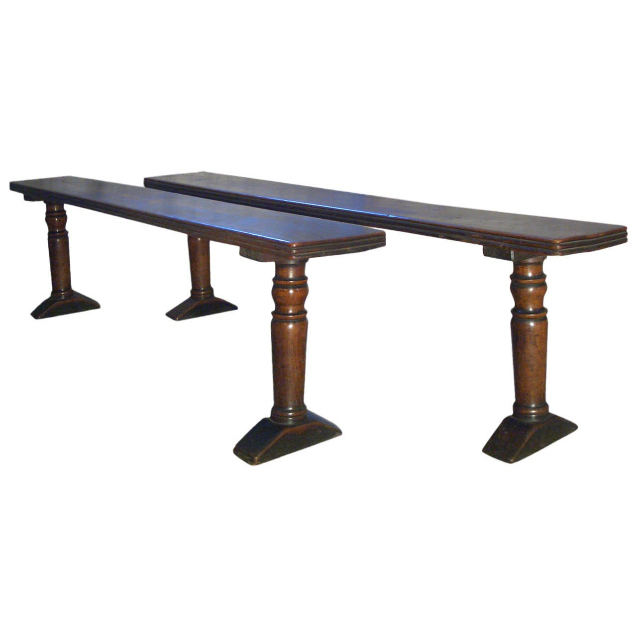 Pair of 17th century Italian baroque Walnut Benches For Sale