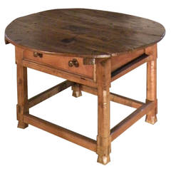 Rustic Spanish 17th century Round Center Table