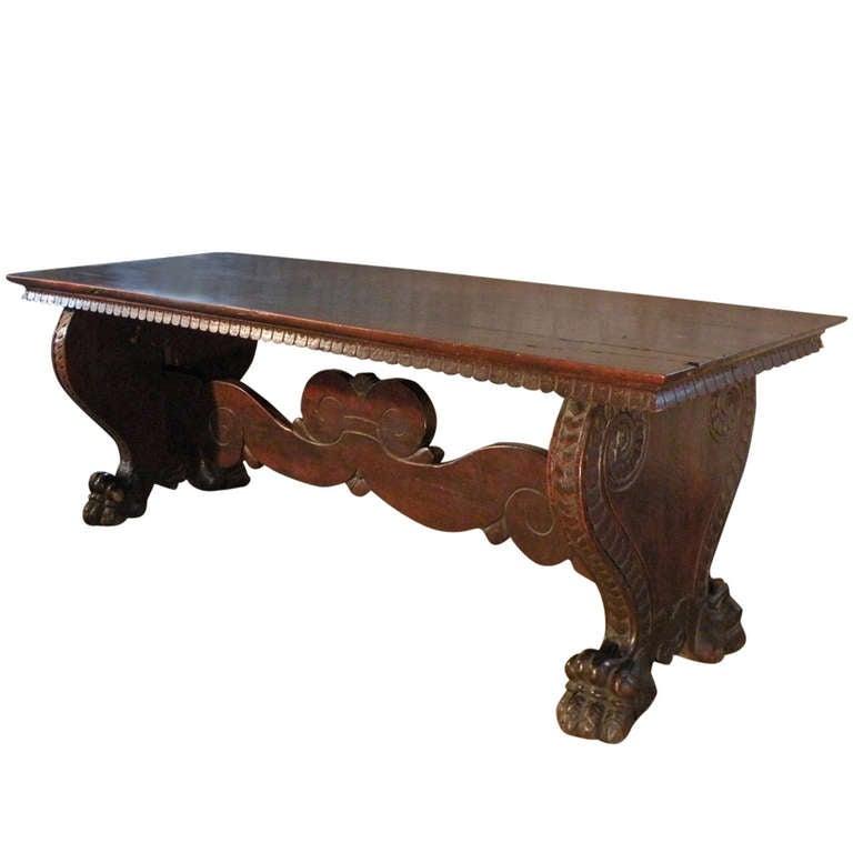 Italian 16th century Renaissance Walnut Trestle Table