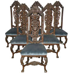 Set of Six Dutch Baroque style side Chairs