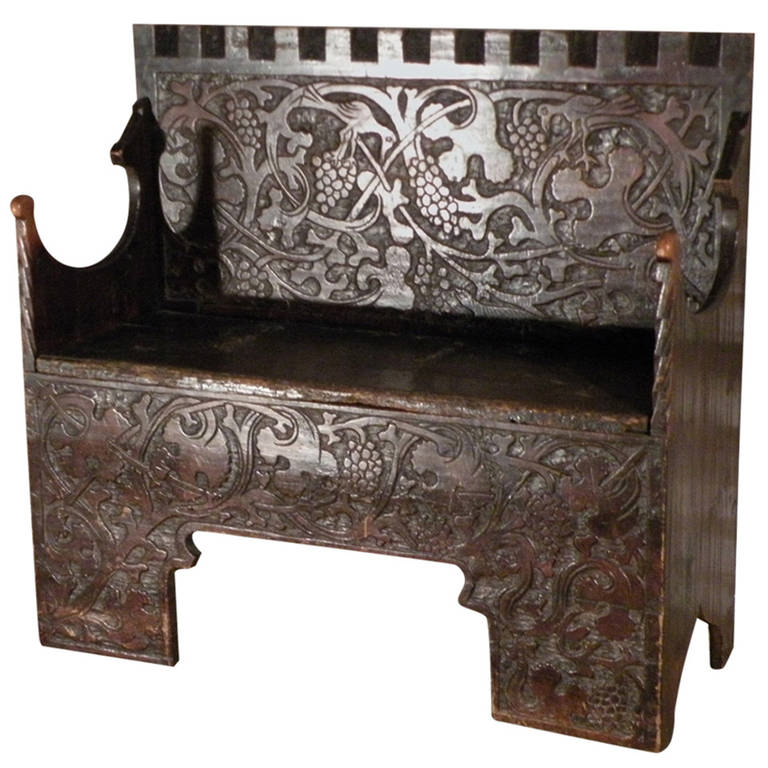 """Very Rare Swiss or German Late Gothic early 16th century """"Flachschnitz"""" Bench"""