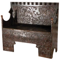 "Very Rare Swiss or German Late Gothic early 16th century ""Flachschnitz"" Bench"