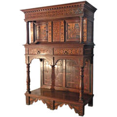 Alpine 19th century Baroque revival Inlaid Dressoir Cabinet