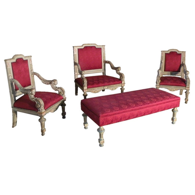 French Louis XIV Style Salon Suite in the Manner of Guéret Frères ...