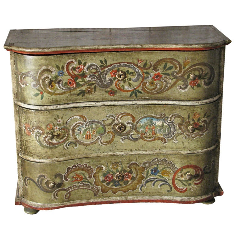 Painted 18th Century Swiss Rococo Commode For Sale At 1stdibs