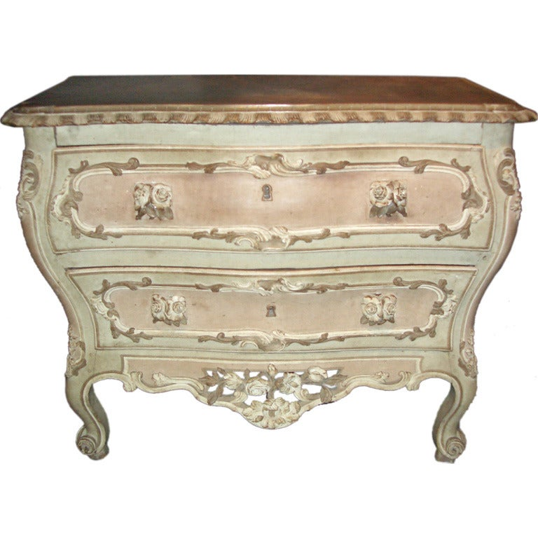 french 18th century baroque painted commode for sale at 1stdibs. Black Bedroom Furniture Sets. Home Design Ideas