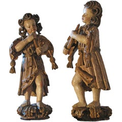 Pair of early 18th century German Baroque Polychrome Sculptures of Musicians