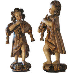 Pair of early 18th century Baroque Polychrome Sculptures of Musicians