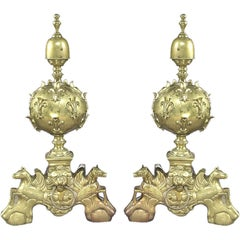 Large Pair of French late century Louis XIV Gilt Bronze Andirons