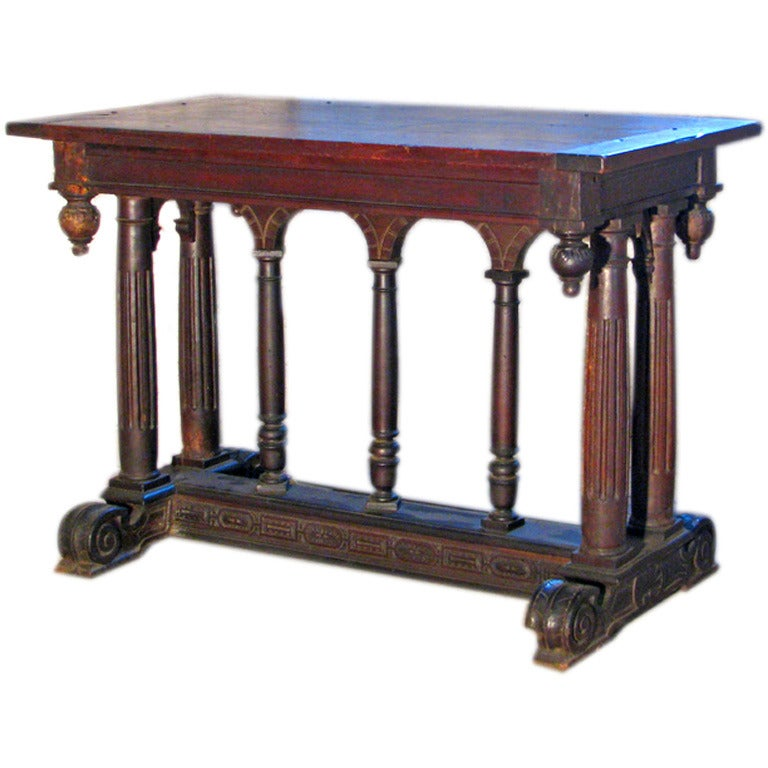 19th century Renaissance Style Walnut center Table For Sale