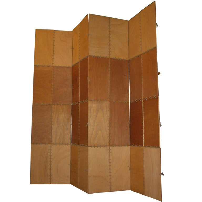 Late 20th century four panel room divider or screen by for Four panel room divider screen