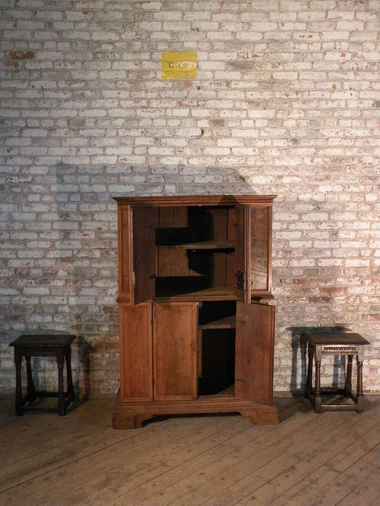Walnut  Italian Baroque 17th century small walnut Cabinet or Bookcase For Sale