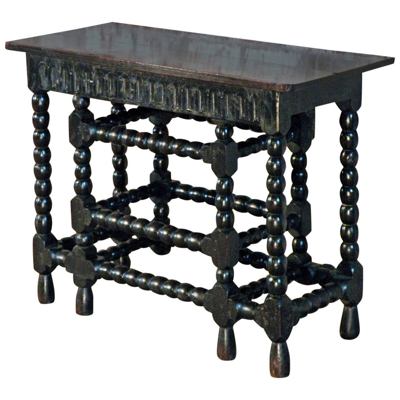 Franco-Flemish 17th Century Walnut and Ebonized Console Table