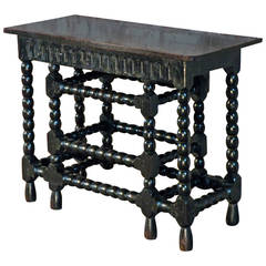 Franco-Flemish 17th Century Walnut and Ebonized Console Table