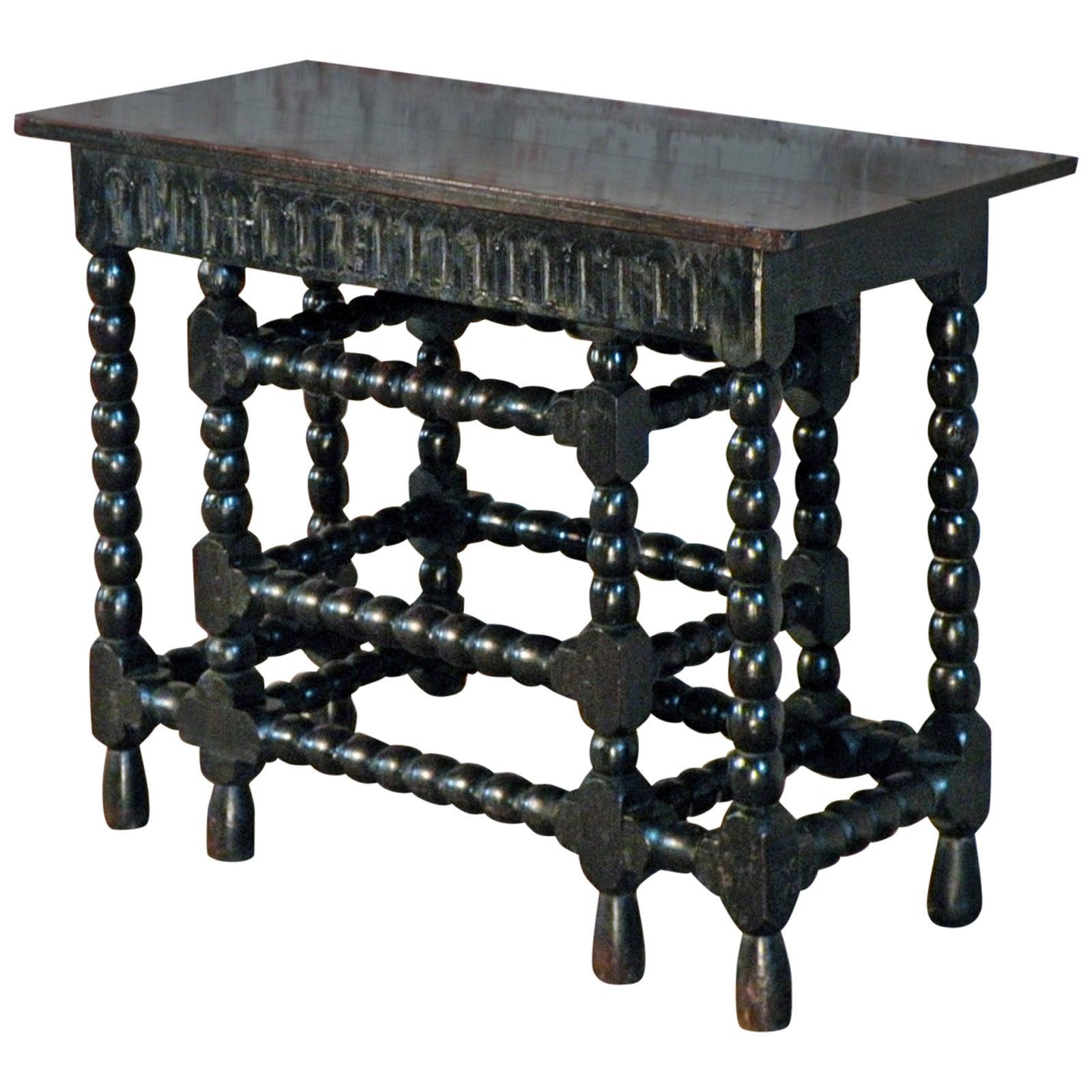 Franco-Flemish 17th Century Oak and Ebonized Console Table