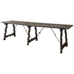 Long And Narrow Spanish Baroque 17th Century Trestle Table