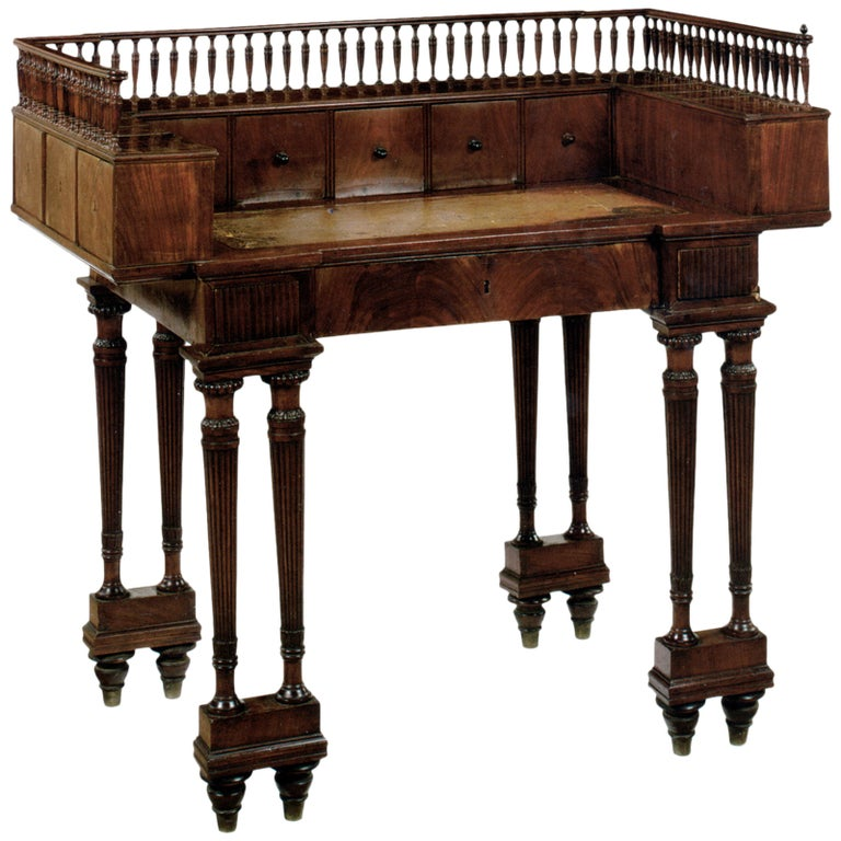 Neoclassical19th century mahogany Writing Table or Desk For Sale