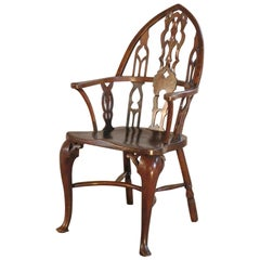 "English 19th century George III ""Gothick"" Yew wood Windsor Chair"