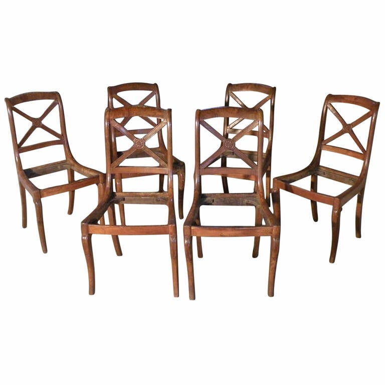 Set of Six Small 19th century Charles X Side Chairs