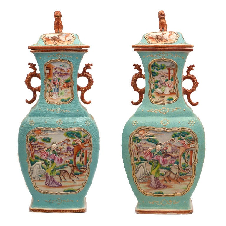 Fine Pair of Chinese Export 'Mandarin Palette'  Covered Vases