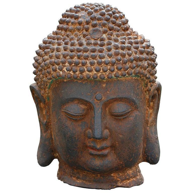 Massive Cast Iron Head Of The Buddha At 1stdibs