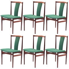 Six Sculptural Rosewood Dining Chairs