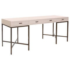 Large-Scale White Lacquer and Brass Campaign Desk