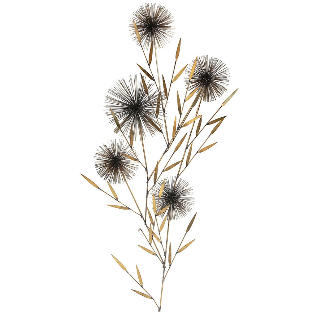 Dandelion Metal Wall Decor : Curtis jere brass dandelion wall sculpture for sale at stdibs
