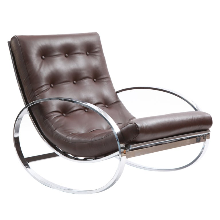 Lovely Chrome Leather Rocking Chair By Renato Zevi 1