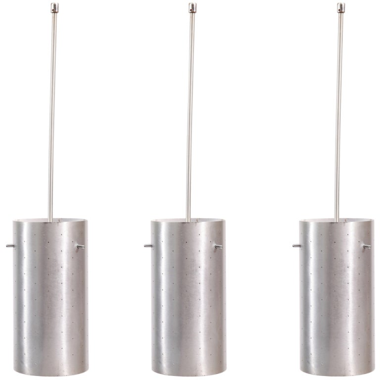 3 Lightolier Perforated Aluminum Pendant Lights At 1stdibs