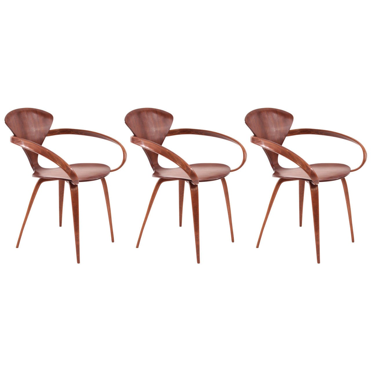 three original norman cherner for plycraft pretzel armchairs 1