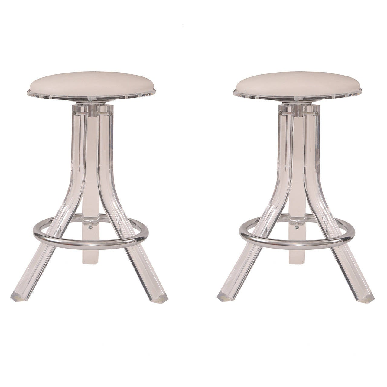Chrome Bar Stools ~ Pair of lucite chrome and upholstered counter stools at