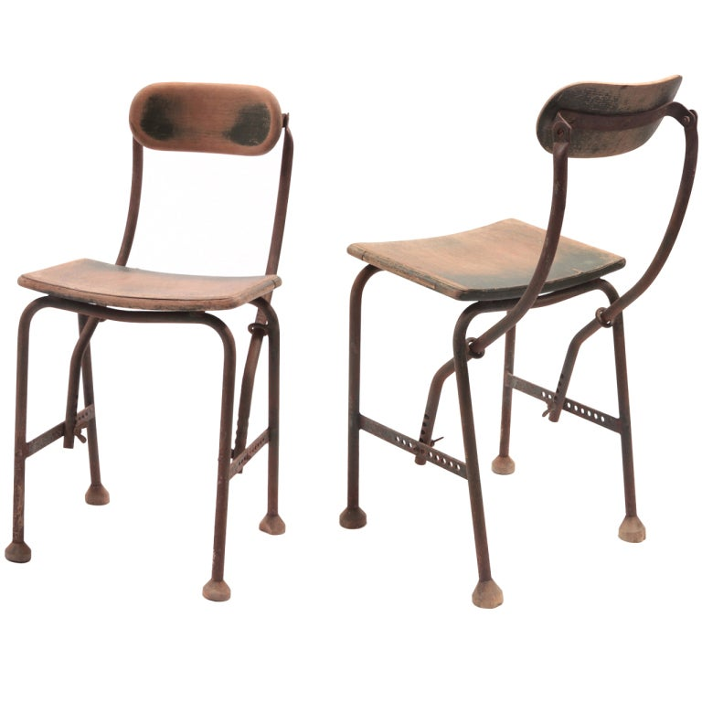 Set Of 16 Industrial Steel And Painted Wood Chairs At 1stdibs