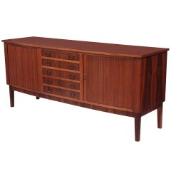 Rosewood Brass and Tambour Door Credenza