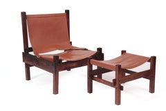 Brazilian Modern Rosewood and Leather Chair and Ottoman