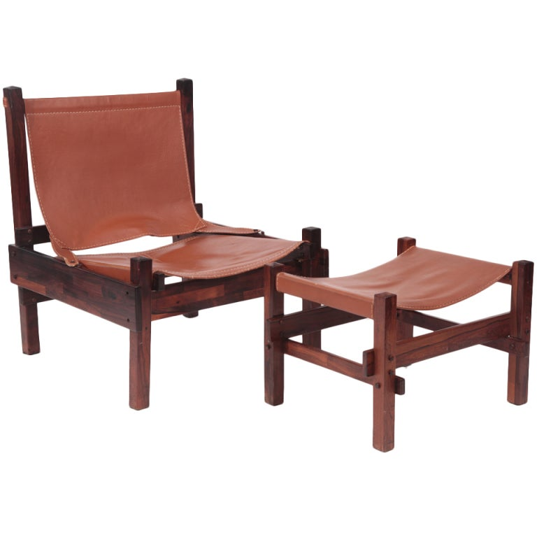 Rare Jorge Zalszupin Chair and Ottoman