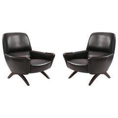Leather and Rosewood Lounge Chairs by Leif Hansen