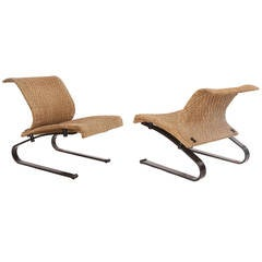 Pair of Bronze and Woven Suede Lounge Chairs by Saporiti