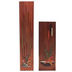 Pair of Walnut Brass and Mosaic Glass Wall Hangings