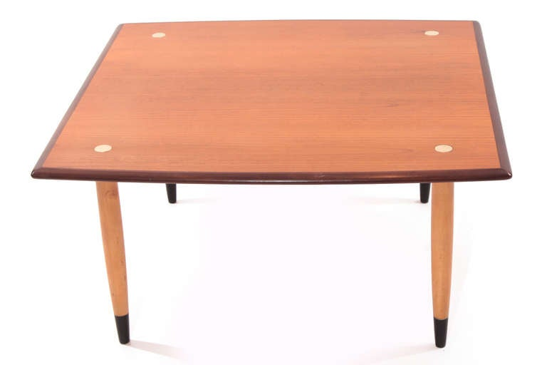 Teak beech and brass cocktail table by dux at 1stdibs for Beech coffee table