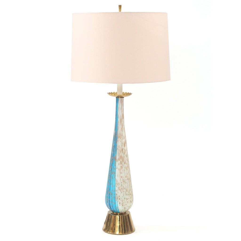 Barovier e Toso Handblown Murano Glass and Brass Table Lamp