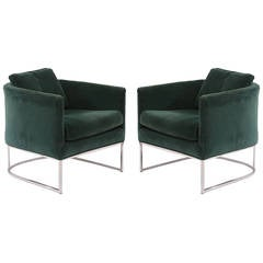 Pair of Milo Baughman Thayer Coggin Velvet and Steel Lounge Chairs