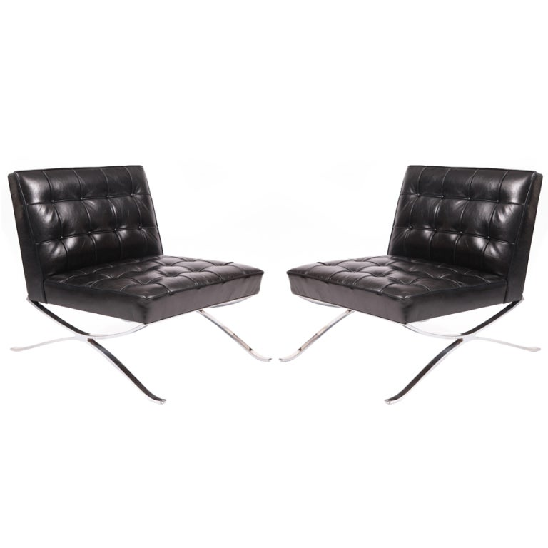 Rare Pair of Steel and Leather Lounge Chairs by Hans Kaufeld