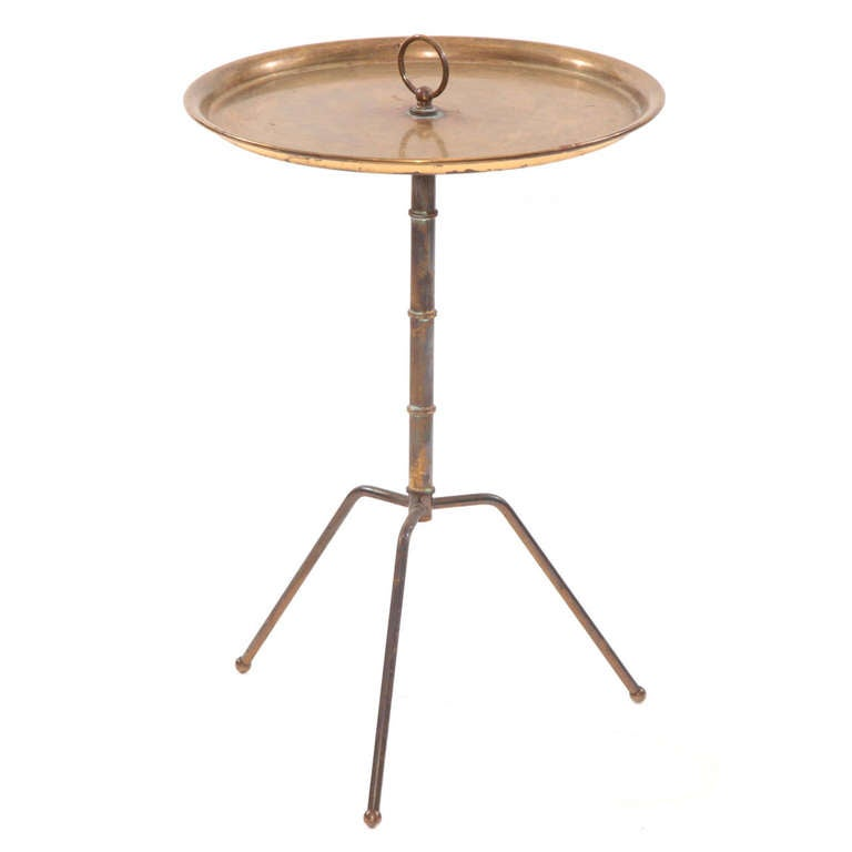Elegant Patinated Brass Italian Side Table