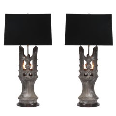 Pair of 1930s Solid Bronze Table Lamps